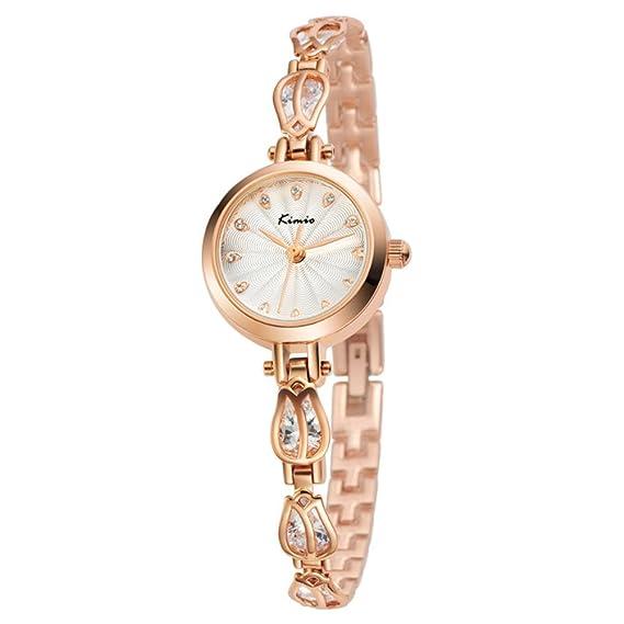 Womens lujo vestido reloj analógico blanco Dial Japaneses movimiento de cuarzo reloj de pulsera chapado en