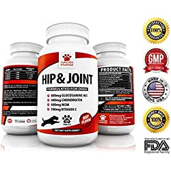 Advanced Hip And Joint Support - Glucosamine Chondroitin MSM For Dogs – Chewable Food Supplement With Vitamins C & E – Pain Relief Medicine Treats For Arthritis & Dysplasia – Beef Flavor Tablets
