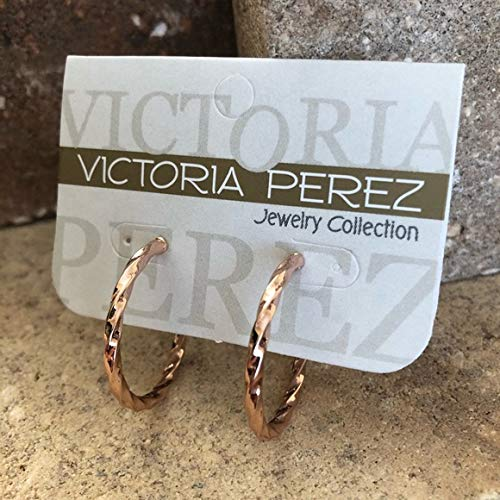 Victoria Perez Jewelry Collection Hoop Earrings 14K Rose Plated Mid Size