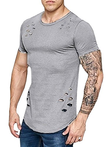 Major Wong Men's Fashion Ripped Solid Color Loose Fit Crew Neck T Shirts Casual Short Sleeves