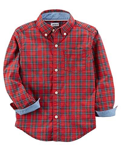 Plaid Button Front Shirt - 1