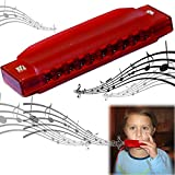 Translucent Harmonica - 12 Pack Set of Colorful 4'' Starter Instruments for Kid's Party | Holidays and Special Events - Top Quality Beginners Harmonica with Standard 10 Hole Structure - Ages 3 +