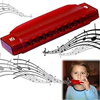 Dazzling Toys Kids Clearly Colorful Translucent Harmonica - 4 Inch Red Harmonica