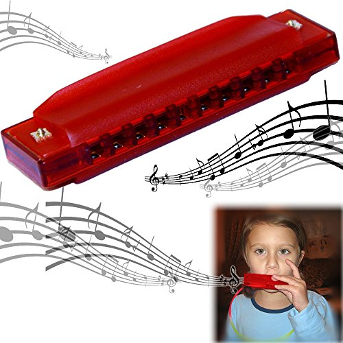(dazzling toys Translucent Harmonica - 2 Pack Set of Colorful 4 Starter Instruments for Kids Party | Holidays and Special Events - Top Quality Beginners Harmonica with Standard 10 Hole)
