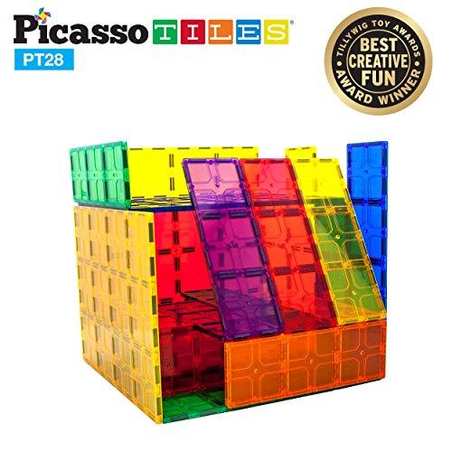 "PicassoTiles 28 Piece 12""x9"", 12""x3"", 9""x3"" Large Stabilizer Building Block Base 28pc Jumbo XL Plate Foundation Kit Magnetic Building Blocks Magnet Tiles Educational Construction Stacking STEM Toy Set"