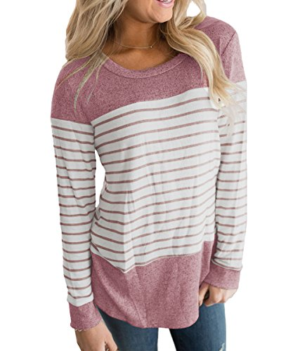 Vemvan Womens Long Sleeve Round Neck T Shirts Color Block Striped Causal Blouses Tops