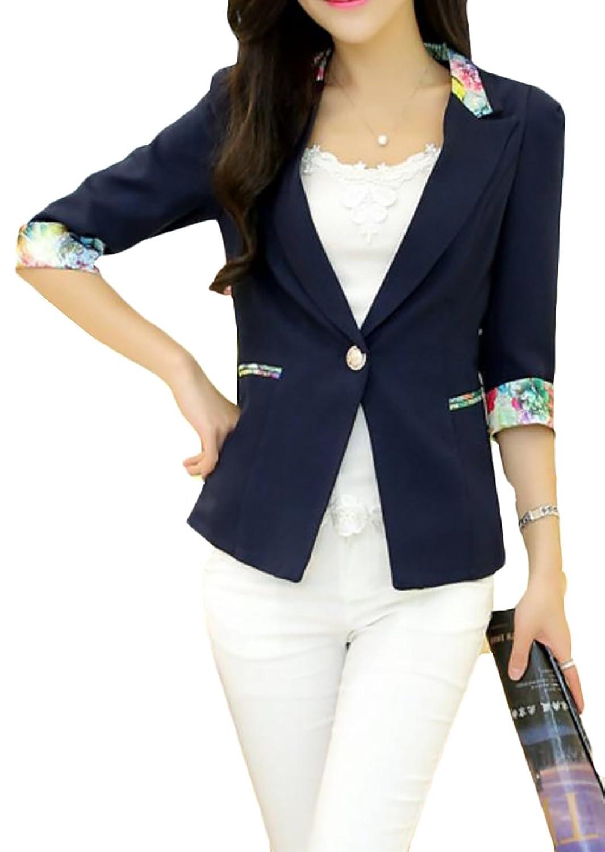 Fulok Women's Floral Open Front One Button 3/4 Sleeve Blazer Jacket