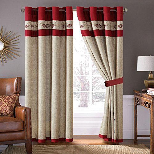 4-Pc Floral Vine Scroll Embroidery Curtain Set Burgundy Red Antique Beige Drape Sheer Liner (Red Floral Scroll)