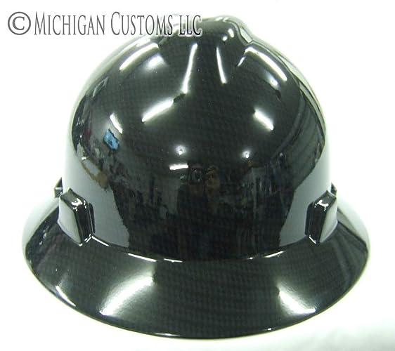 Amazon com: ull Brim - Black Carbon Fiber hydro-dipped MSA hard hat