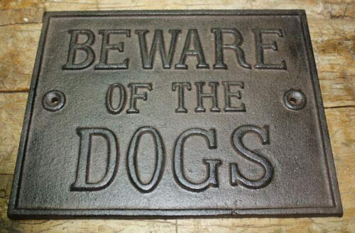 JumpingLight Huge Cast Iron Beware of The Dogs Plaque Sign Rustic Ranch Wall Decor Kennel Cast Iron Decor for Vintage Industrial Home Accessory Decorative Gift