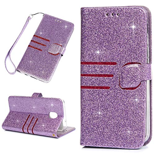 Galaxy J3V J3 V 3rd Gen Case Shiny Glitter Wallet Case PU Leather Magnetic Flip Cover Shock Resistant Flexible Soft TPU Slim Protective Bumper Card Slots Kickstand Lanyard for Samsung Galaxy J3 Purple