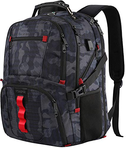 - YOREPEK Large Travel Backpack,TSA Durable Water Resistant Outdoor Laptop Backpack for Men Women with USB Charging Port,Stylish College School Computer Bookbag Fits 17Inch Notebook,Camo