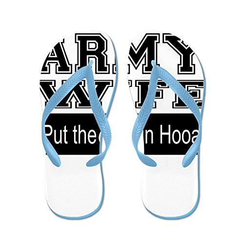 CafePress Army Wife OOO In Hooah_Black - Flip Flops, Funny Thong Sandals, Beach Sandals Caribbean Blue