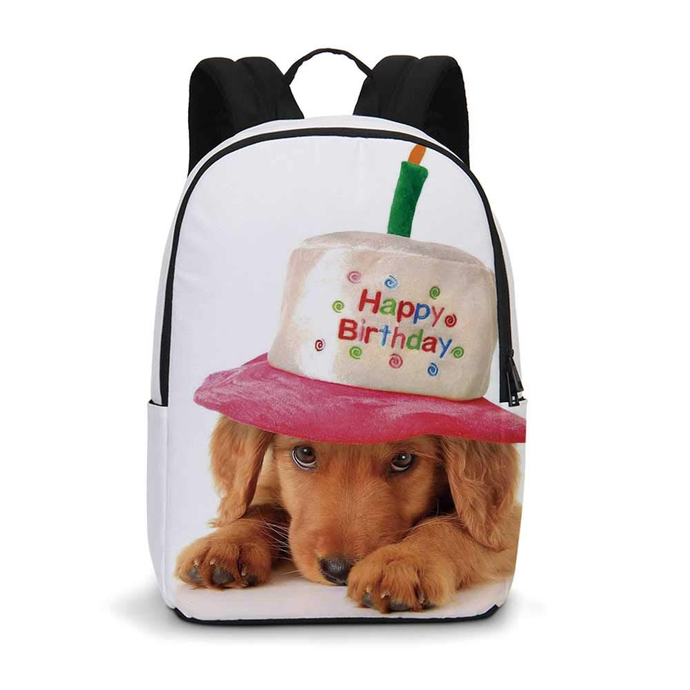 Birthday Decorations for Kids Modern simple Backpack,Golden Puppy with Party Cone Shaped Hat with Candle Image for school,11.8''L x 5.5''W x 18.1''H