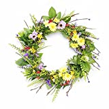 FAVOWREATH Vitality Series FAVO-W17 Handmade 13 inch Wild Flowers Green Grass Daisy Dry Branch Fall Wreath For Spring/Summer Festival Front Door/Wall/Fireplace Hanger Laurel/Eucalyptus Home Decor