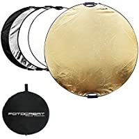 """FOTOCREAT 43""""(110CM) 5 in 1 Round Oval Collapsible Disc Light Reflector With Handle(golden/silver/black/white/translucent) for Photography Photo Studio"""