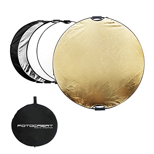 "FOTOCREAT 43""(110CM) 5 in 1 Round Oval Collapsible Disc Light Reflector With Handle(golden/silver/black/white/translucent) for Photography Photo Studio by FOTOCREAT"