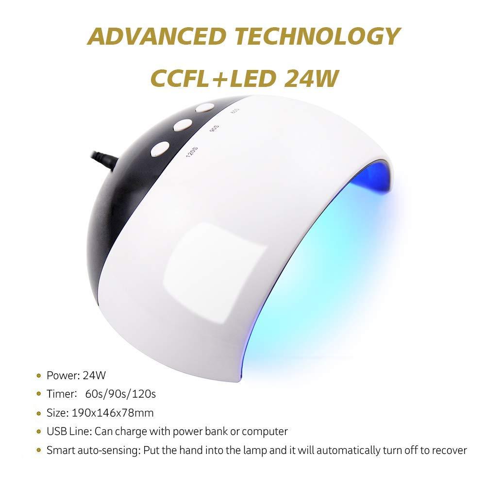 Coscelia 24W Lámpara LED Uñas Lámpara de Uñas de Gel con Temporizador Secador de Esmalte Secador de Uñas Nail Dryer: Amazon.es: Belleza