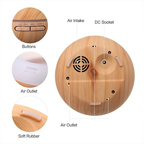 KBAYBO 300ml Essential Oil Diffuser Aroma Diffuser Aromatherapy Ultrasonic Cool Mist Humidifier 7 Color LED Change for Office Home Bedroom Living Room Study Yoga Spa-Wood Grain