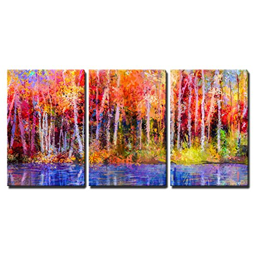 """Wall26 - 3 Piece Canvas Wall Art - Oil Painting Colorful Autumn Trees. Semi Abstract Image of Forest, Aspen Trees with Yellow - Modern Home Decor Stretched and Framed Ready to Hang - 24\""""x36\""""x3 Panels"""