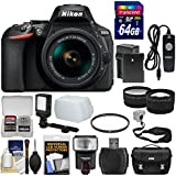 Nikon D5600 Wi-Fi Digital SLR Camera & 18-55mm VR DX AF-P Lens with 64GB Card + Case + Flash + Video Light + Battery & Charger + Tele/Wide Lens Kit