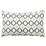 Decorative Retro Geometric Ikat Yellow Gray Pattern Bedding Pillow Cover 12 x 20 Inches by Icream Deal