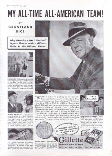 Sportswriter Grantland Rice for Gillette Razors ad 1938
