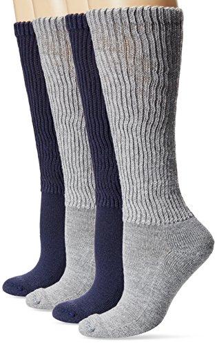 Dr. Scholl's Women's Diabetic and Circulatory Knee High Socks - 4 Pair Pack,  Denim/Grey, Shoe: (Plus Size High Socks)