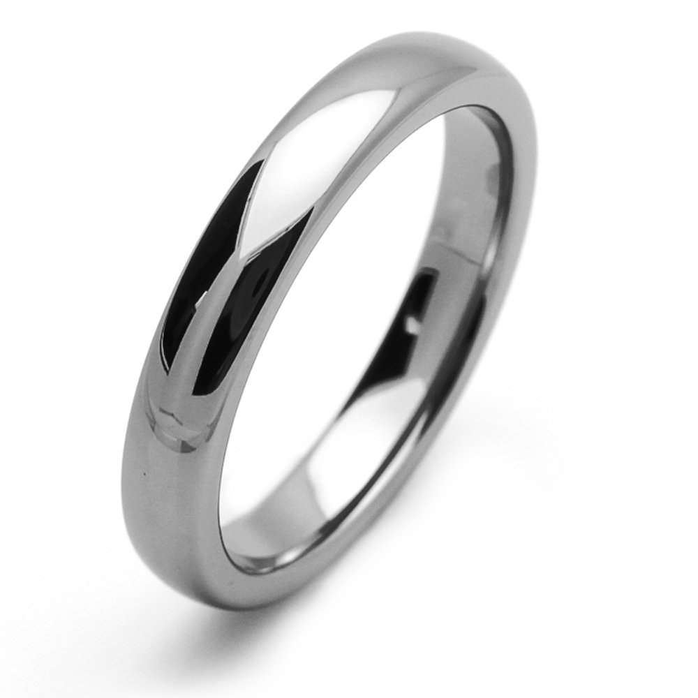 Little Treasures 4MM Comfort Fit Tungsten Carbide Wedding Band Domed Classic Ring For Men & Women Cobalt Free