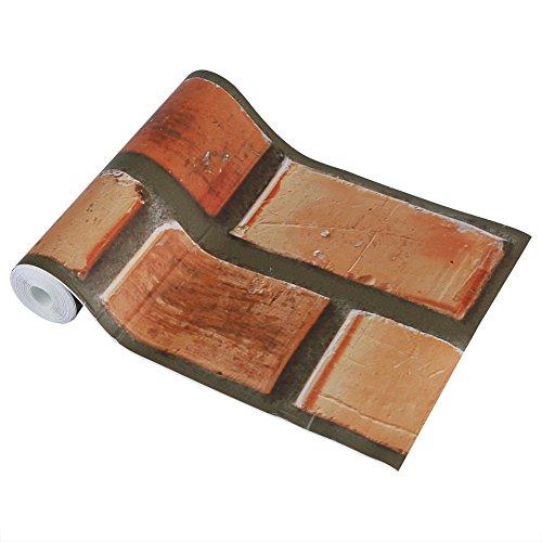 Asixx Pegatina de Pared, Pegatinas Decorativos Pared, Decoración Adhesivos, de Material de PVC, Sobre 3D Patrón de Ladrillo...
