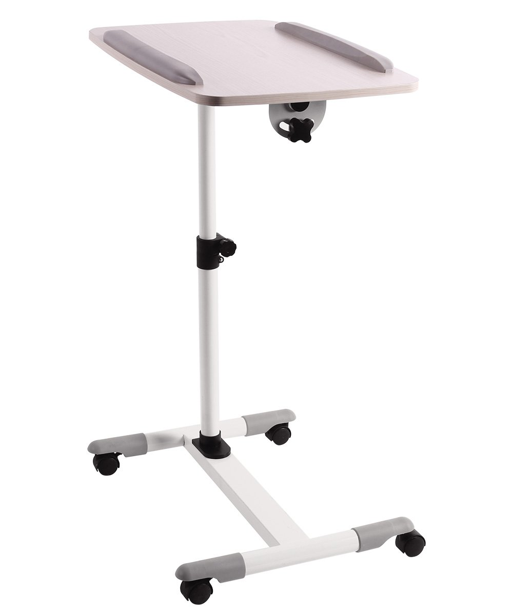 ProHT Universal Mobile Projector Laptop Stand Trolley (05485A),Sit-Stand Laptop Desk Cart,Adjustable Projector Stand/Rolling Computer Stand/Presentation Cart Rotated 360° and Tilted up to 35° .White by ProHT (Image #1)