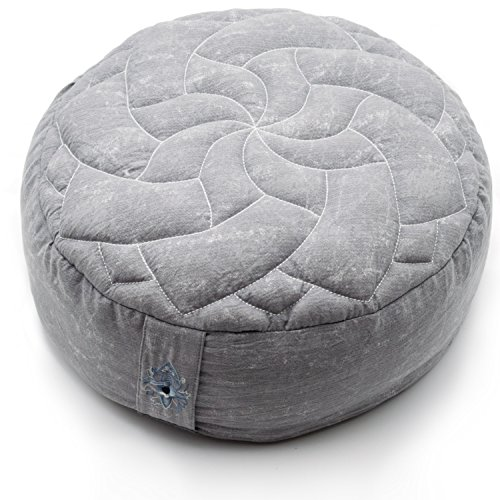 Zenjara Zafu Yoga Meditation Cushion w/ Quilted Mandala Top | Overstuffed Organic Buckwheat Hull Filling | Washable, Removable Double-Layer Outer Cotton Pillow Cover | Carrying Handle