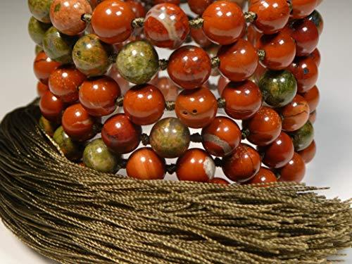 Red Jasper AAA and Unakite Jasper Hand Knotted Mala(108 and Guru) 8-mm Beads with a Seaweed Green Tassel 1094