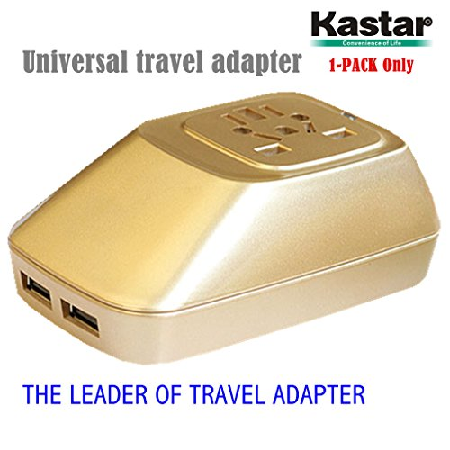 Kastar 1-PACK Safety International Power Adapter, Universal World-Wide Travel AC Adapter with 2.1A Dual USB Charger All-in-one AC Power Plug For AUS USA EU UK (GOLDEN COLOR)