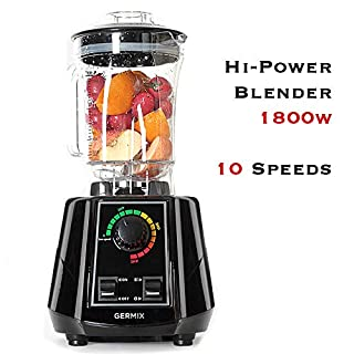 Professional Countertop Blender, Germix 1800w High Power Blender with 10 High Speeds Control Base, Smoothie Maker, Kitchen Blender with 64oz BPA Free Tritan Container for Blend, Chop and Grind