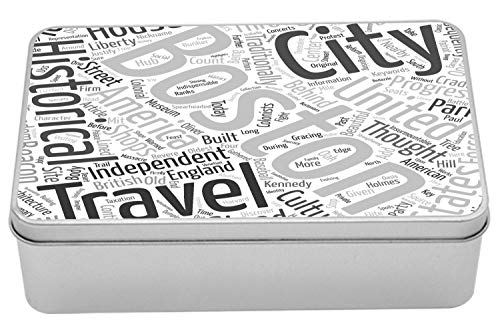 Ambesonne Boston Metal Box, Worldcloud Messy Arrangement of Tourist Attraction Concept Words, Multi-Purpose Rectangular Tin Box Container with Lid, 7.2