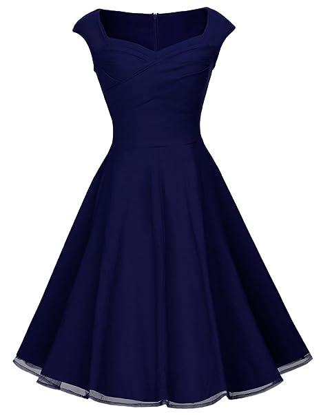 HOMEYEE B003 - Vestido de fiesta para mujer, estilo vintage, años 50 Azul azul
