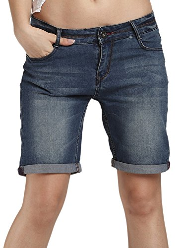 Chouyatou Women's Casual Perfectly-Shaping Stretch Denim Bermuda Shorts (Large, ()