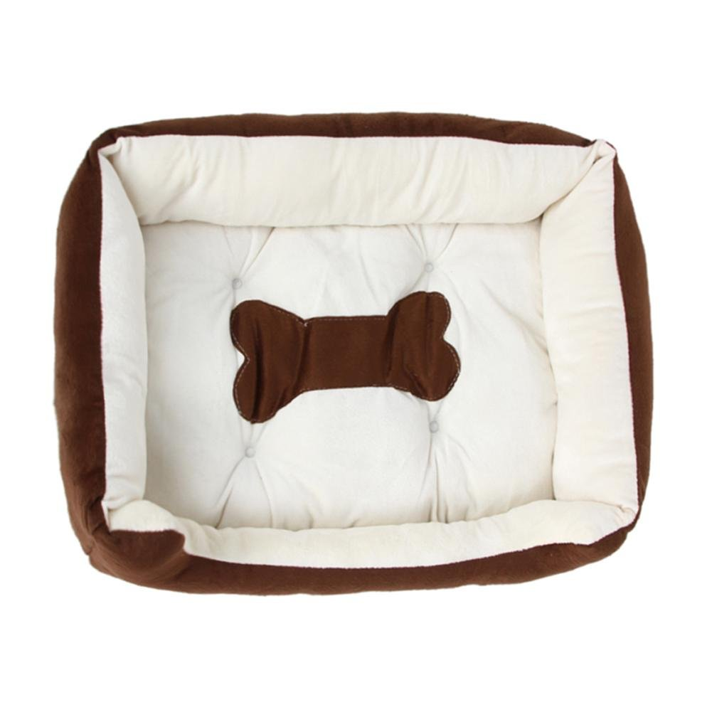 BROADROOT Bone Shape Printed Pet Bed Mattress Dog Cat Pad Mat Cushion Nest(White/L)