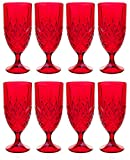 Godinger Dublin Red Crystal Iced Beverage Glasses, Set of 8 (Eight), Ruby Red