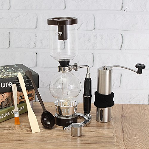Raza Glass Siphon Coffee Maker Coffee Pot With Stainless Steel Hand Manual Coffee Bean Grinder Mill Kitchen Grinding Tool