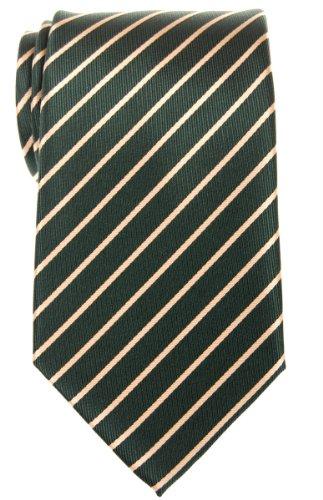 Gold Green Stripe Silk Necktie - Retreez Thin Regimental Striped Woven Microfiber Men's Tie - Green with Gold Stripe