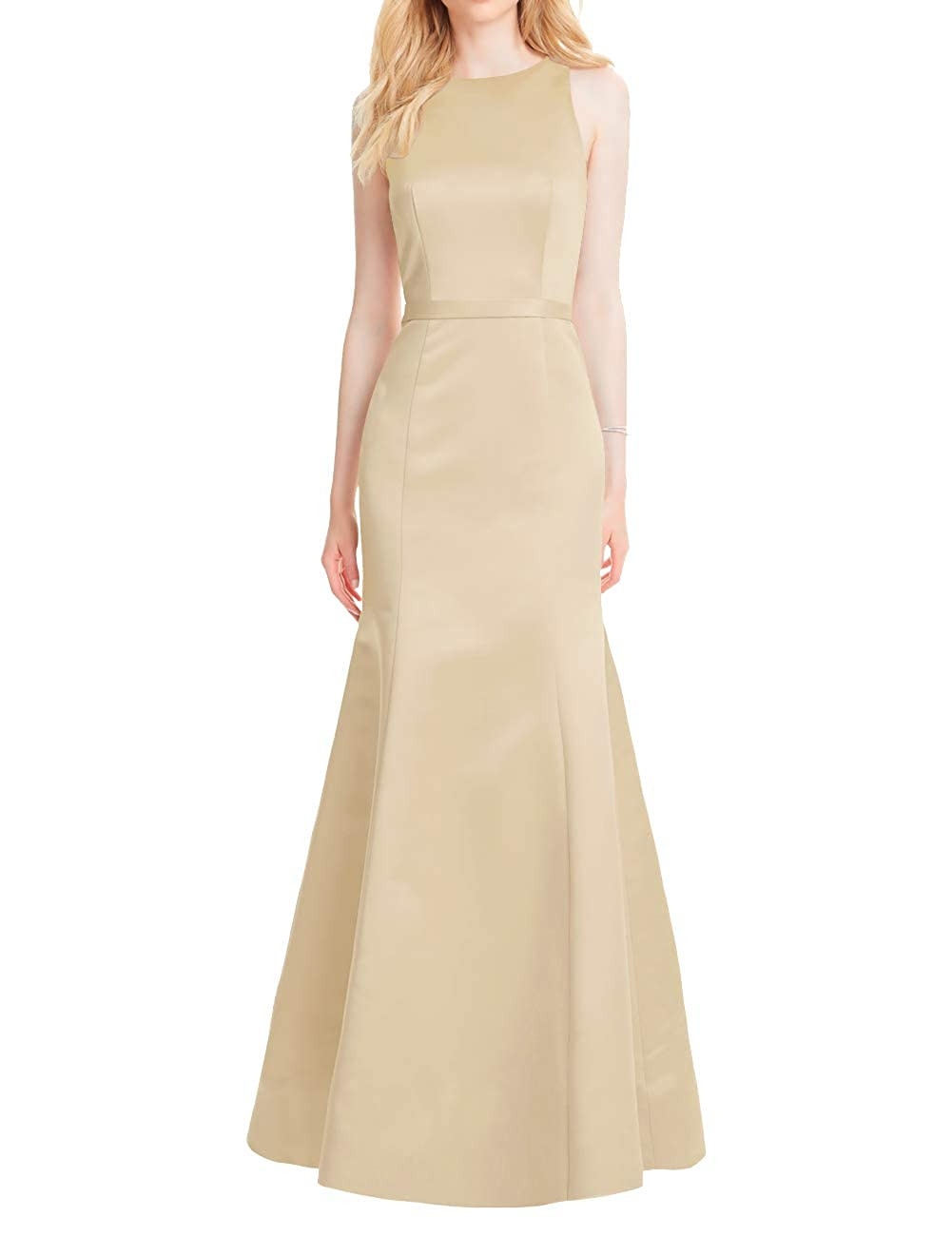 Champagne Mermaid Prom Dresses Long Satin Evening Formal Gowns Backless Maxi Party Dress