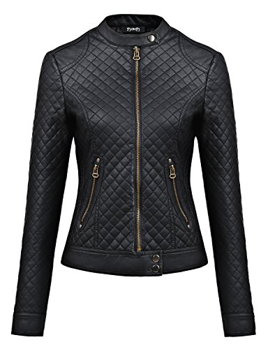Thanth Womens Faux Leather Zip Up Jacket BLACK Small