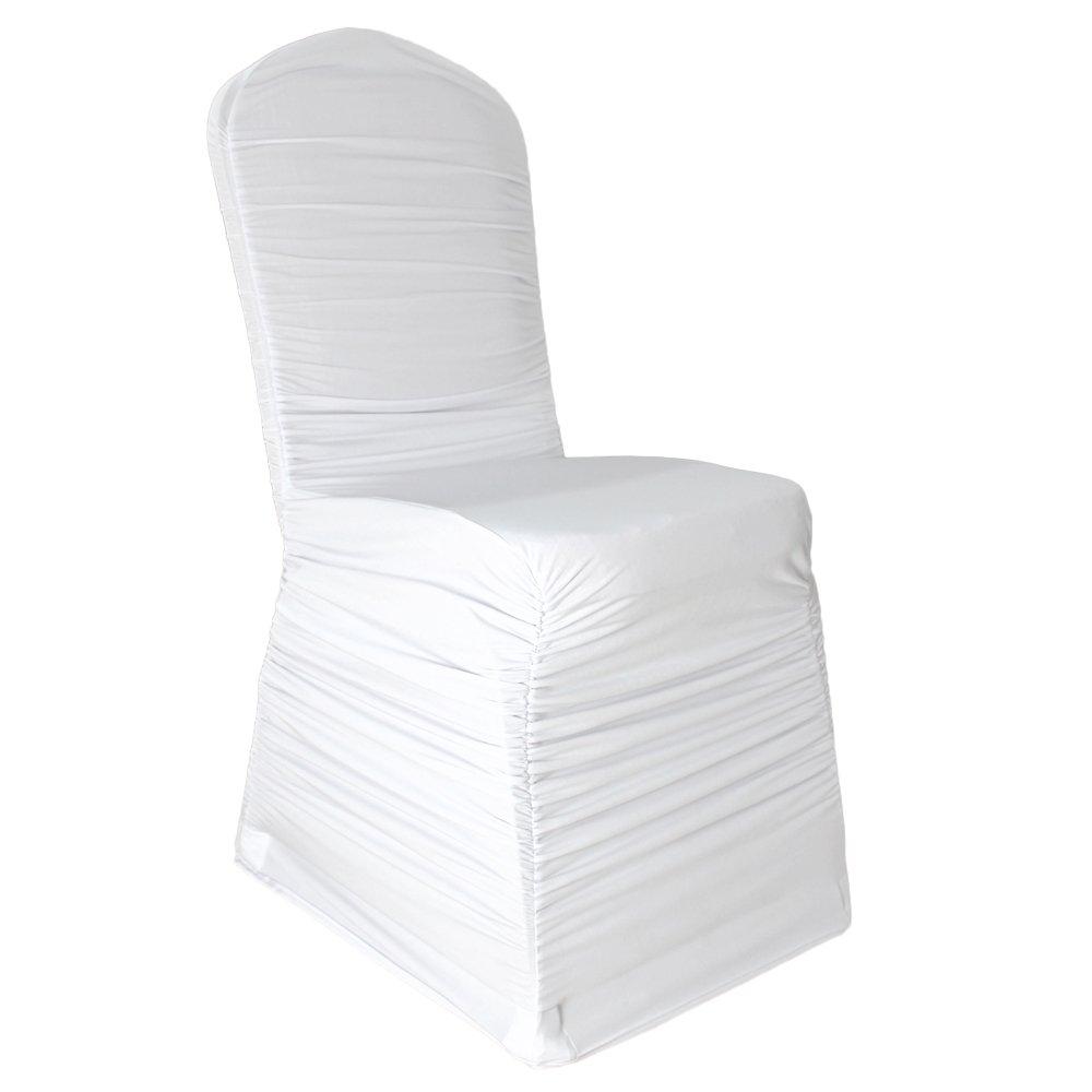 Housse de chaise stretch arrière plissé Taille standard universel blanc uni - Weiß - 25er Pack
