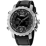 INFANTRY® Night Vision Digital Luxury Silver Stainless Steel Balck Leather Band Mens Wrist Watch #FS-007-S-D