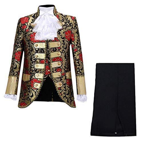 KINGOLDON Performances Suit Mens European Gothic Style Court Costumes Uniforms Red