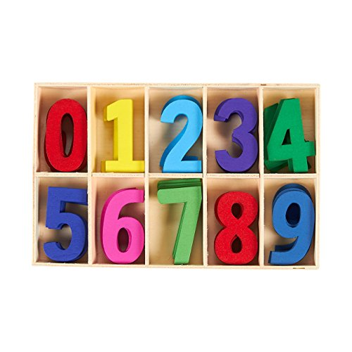 50-Piece Wooden Numbers - Craft Numbers with Storage Tray   Kids Learning Toy, Assorted -