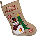 """Set of 3 Burlap Christmas Stockings 18"""" Holiday Stocking Decorations, Santa Claus Reindeer and Snowman Characters For Fireplace Decor and Party Favors Accessories by Gift Boutique"""