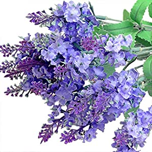MARJON Flowers2pcs Artificial Fake Flower Lavender Provence Bush Bouquet Home Wedding Decor (Purple) 27